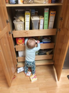 A helped the taste test by emptying the pantry
